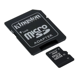 Kingston microSDHC 4 Go - Class 10 + adaptateur SD (garantie à vie par Kingston)