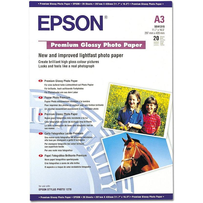 Papier imprimante Epson C13S041315 Epson C13S041315 - Papier photo premium A3 (20 feuilles)