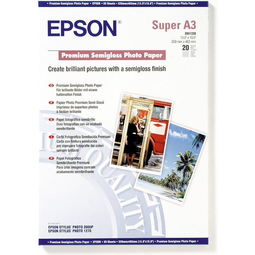Papier imprimante Epson C13S041328  Epson C13S041328 - Papier photo premium semi glacé A3+ (20 feuilles)