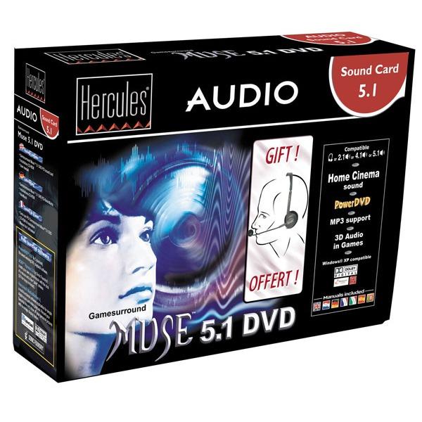 Carte son interne Hercules Gamesurround Muse 5.1 Hercules Gamesurround Muse 5.1 DVD + Microcasque offert (version Retail)