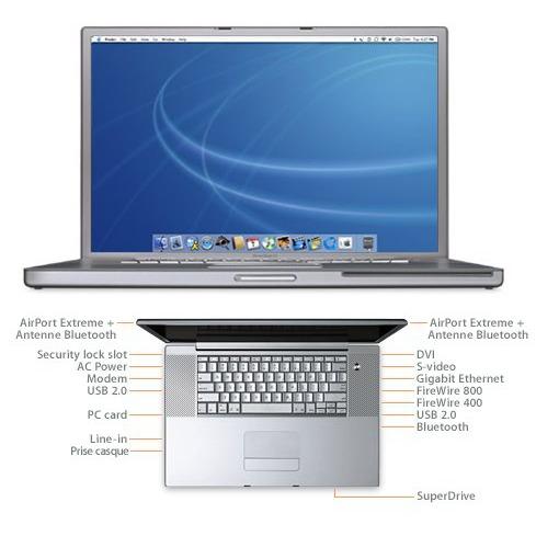 "Macbook Apple PowerBook G4 - G4 1.33 GHz 512 Mo 80 Go 17"" TFT DVD-R Wi-Fi/Bluetooth Mac OS X Apple PowerBook G4 - G4 1.33 GHz 512 Mo 80 Go 17"" TFT DVD-R Wi-Fi/Bluetooth Mac OS X"
