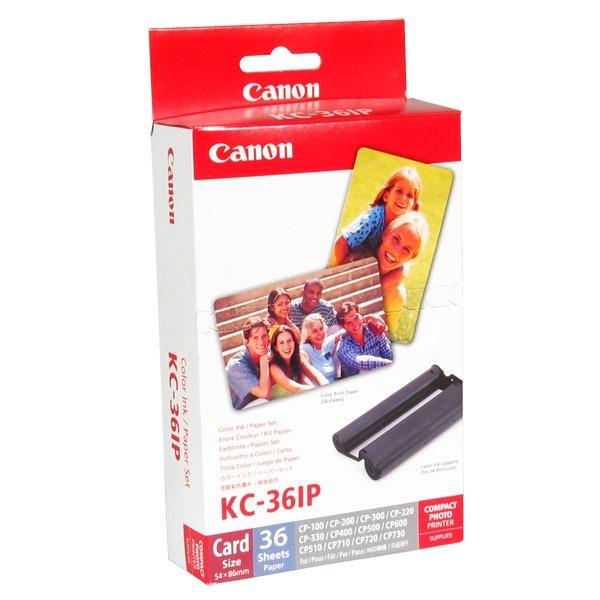 Cartouche imprimante Canon KC-36IP Cartouche d'encre couleur + Papier photo format Carte de Crédit (36 feuilles)