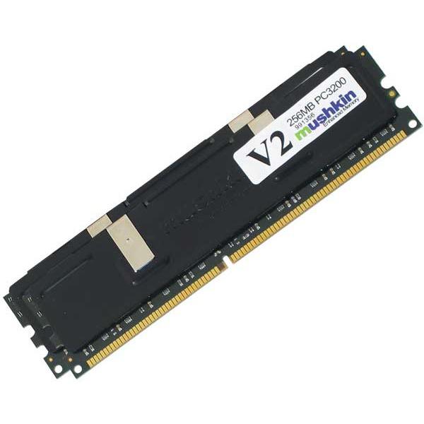 Mémoire PC Mushkin Black 512 Mo (2x 256 Mo) DDR-SDRAM PC3200 L2 V2 Mushkin Black 512 Mo (2x 256 Mo) DDR-SDRAM PC3200 L2 V2