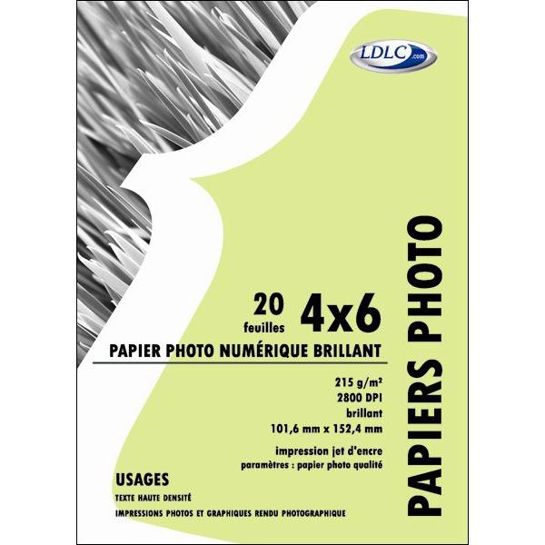 Papier imprimante LDLC Papier Photo Glacé, 215 g/m² - Résistant à l'eau (10x15cm - 20 feuilles) LDLC Papier Photo Glacé, 215 g/m² - Résistant à l'eau (10x15cm - 20 feuilles)