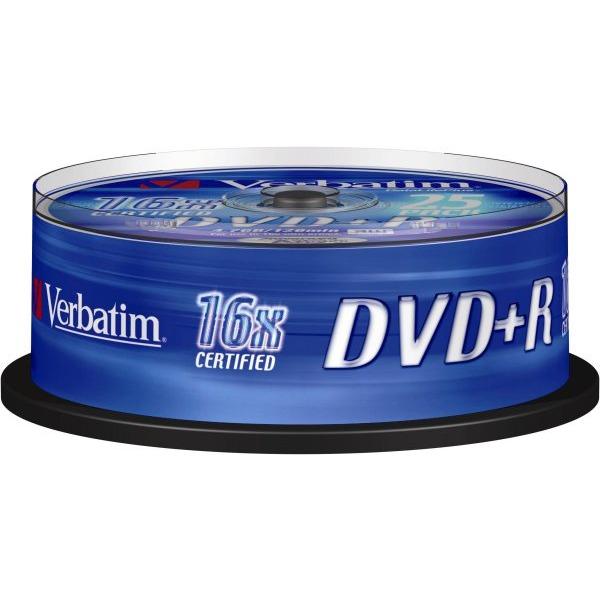 DVD Verbatim DVD+R 4.7 Go 16x (par 25, spindle) Verbatim DVD+R 4.7 Go certifié 16x (pack de 25, spindle)