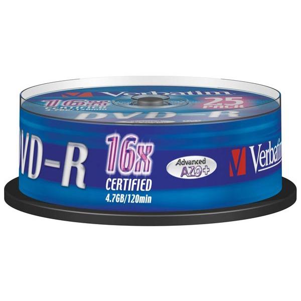 DVD Verbatim DVD-R 4.7 Go 16x (par 25, spindle) Verbatim DVD-R 4.7 Go certifié 16x (pack de 25, spindle)