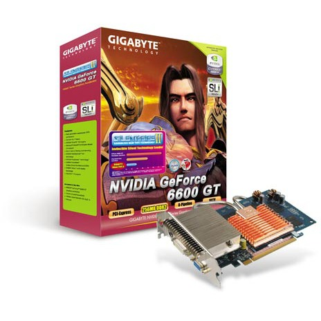 Carte graphique Gigabyte GV-NX66T256DE Gigabyte GV-NX66T256DE - 256 Mo TV-Out/DVI - PCI Express (NVIDIA GeForce 6600 GT)