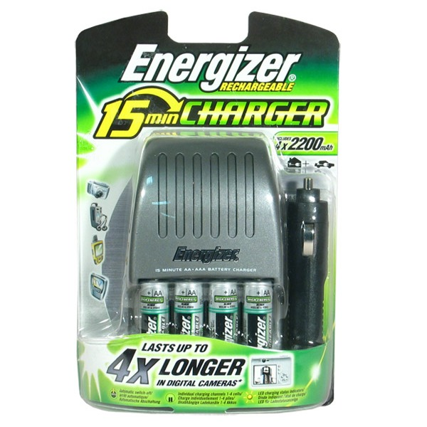 energizer chargeur 15 min 4 piles rechargeables ni mh aa 2200 mah adaptateur de voiture. Black Bedroom Furniture Sets. Home Design Ideas