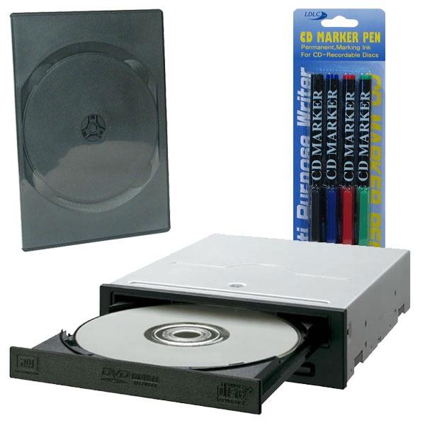 Lecteur graveur Pioneer DVR-110D Pioneer DVR-110D - DVD(+/-)RW 16/8/16/6x DL(+/-) 8/8x CD-RW 40/32/40x IDE Noir (bulk) + 5 boîtes DVD + Stylos