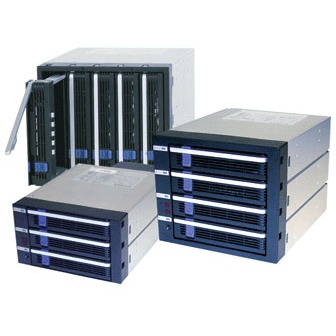 "Rack HDD interne ICY DOCK MB455SPF-B ICY DOCK MB455SPF-B - Racks amovibles pour 5 disques durs 3""1/2 Serial ATA dans 3 baies 5""1/4"