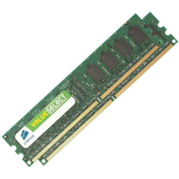 Mémoire PC Corsair Value Select 2 Go (2x 1 Go) DDR2 667 MHz Kit Dual Channel RAM DDR2 PC5300 - VS2GBKIT667D2 (garantie 10 ans par Corsair)
