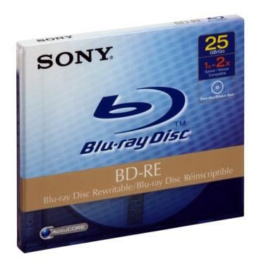 Blu-ray Sony BD-RE 25 Go 2x (boite) Sony BD-RE 25 Go certifié 2x (à l'unité, boitier standard)