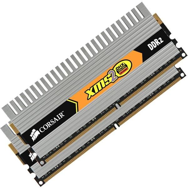Mémoire PC Corsair TWIN2X2048-6400C4DHX Corsair XMS2 DHX 2 Go (kit 2x 1 Go) DDR2-SDRAM PC6400 CL4 - TWIN2X2048-6400C4DHX (garantie 10 ans par Corsair)