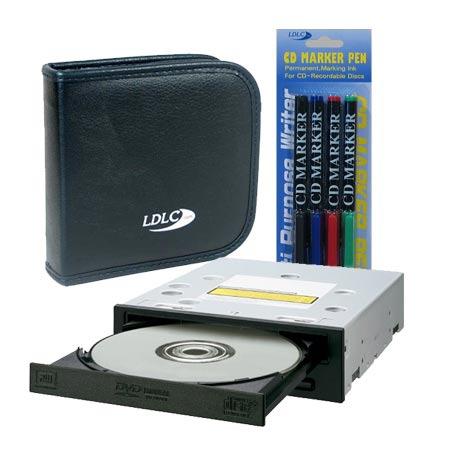 Lecteur graveur Pioneer DVR-112D + pochette CD/DVD + marqueurs couleurs Pioneer DVR-112D + pochette 24 CD/DVD + 4 marqueurs couleurs pour CD/DVD