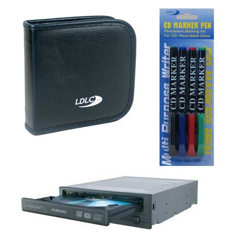 Lecteur graveur Samsung SH_S182D + pochette CD/DVD + marqueurs couleurs Samsung SH_S182D + pochette 24 CD/DVD + 4 marqueurs couleurs pour CD/DVD