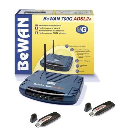 Modem & routeur BeWAN BWA-700G + 2 clés WiFi 54G BeWAN 700G ADSL2+ - Modem-routeur sans fil très haut débit + 2 clés WiFi 54G
