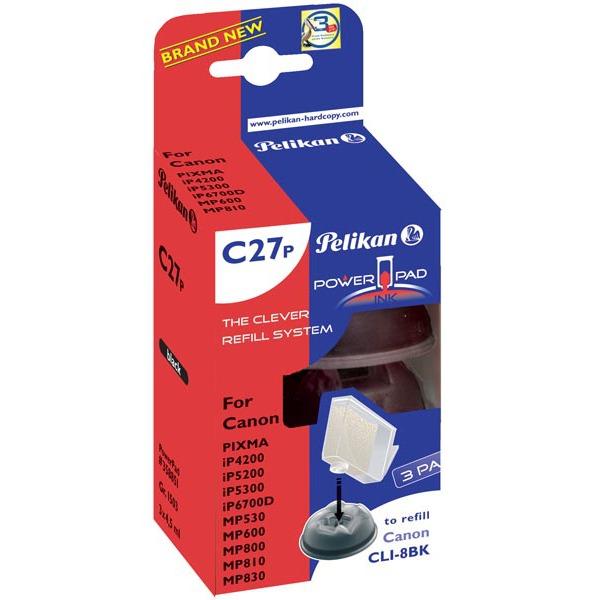 Cartouche imprimante Pelikan PowerPad compatible CLI-8 BK (Pack de 3) Pelikan PowerPad compatible CLI-8 BK (Noir) - Pack de 3