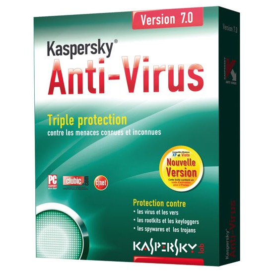 Logiciel antivirus Kaspersky Anti-Virus 7.0 Kaspersky Anti-Virus 7.0 (français, WINDOWS) - Pack 2 postes