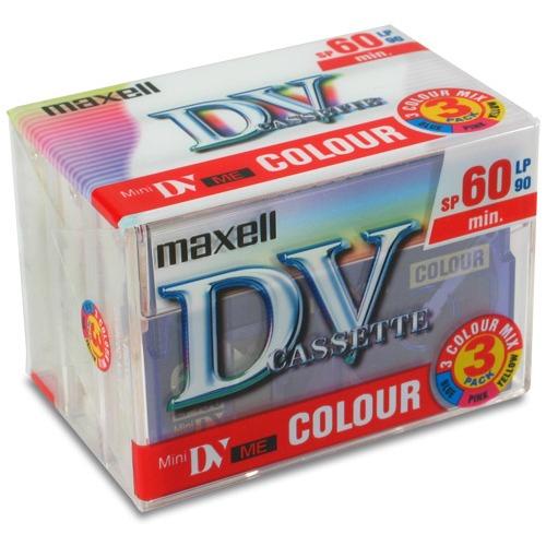 Cassette caméscope Maxell DVM 60 P3 Color Maxell DVM 60 P3 Color - Pack de 3 cassettes MiniDV