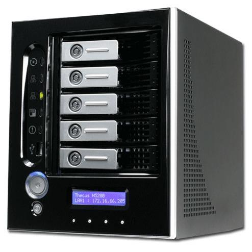 Serveur NAS Thecus N5200BR Thecus N5200BR - Serveur NAS 5 baies avec switch Gigabit 4 ports (coloris noir)