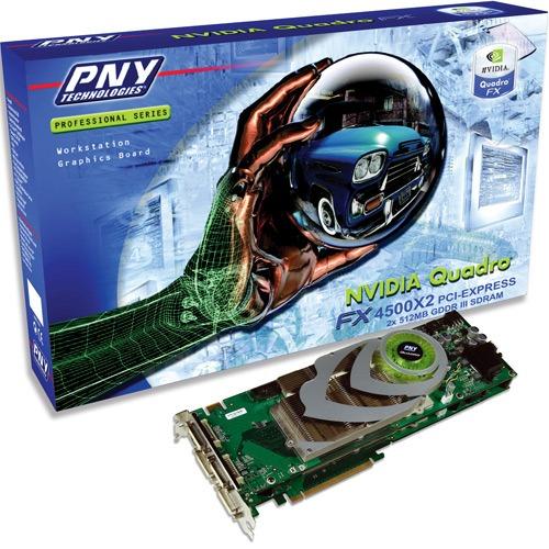 Carte graphique pro PNY Quadro FX 4500 X2 PNY Quadro FX 4500 X2 - 1 Go TV-Out/DVI - PCI Express (2 x NVIDIA Quadro FX 4500)