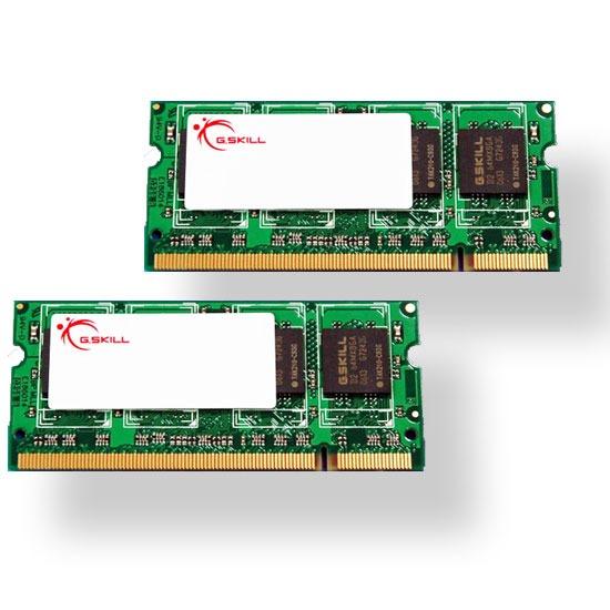 Mémoire PC portable G.Skill SODIMM 2 Go (kit 2x 1 Go) DDR2-SDRAM PC2-5300 - F2-5300PHU2-2GBSA G.Skill SODIMM 2 Go (kit 2x 1 Go) DDR2-SDRAM PC2-5300 - F2-5300PHU2-2GBSA (garantie 10 ans par G.Skill)