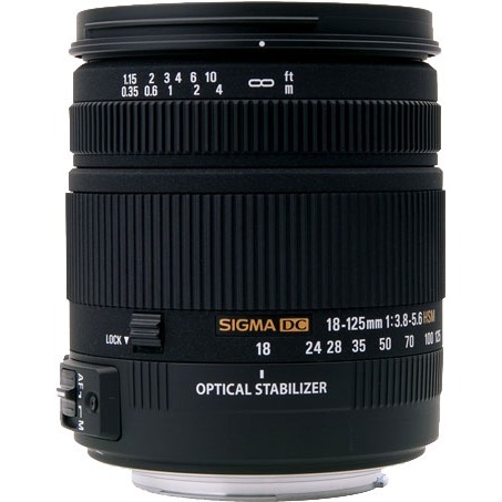 Objectif appareil photo SIGMA 18-125mm F3.8-5.6 DC OS HSM monture Canon Zoom transtandard stabilisé