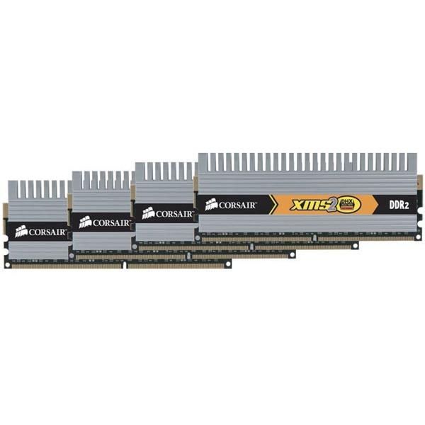 Mémoire PC Corsair XMS2 DHX 8 Go (kit 4x 2 Go) DDR2-SDRAM PC6400 CL4 - Q2X8G6400C4DHX Corsair XMS2 DHX 8 Go (kit 4x 2 Go) DDR2-SDRAM PC6400 CL4 - Q2X8G6400C4DHX (garantie 10 ans par Corsair)