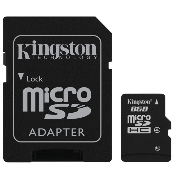 Carte mémoire Kingston microSD 8 Go High Capacity + adaptateur SD Carte mémoire microSDHC classe 4 8 Go avec adaptateur SD (garantie 10 ans par Kingston)