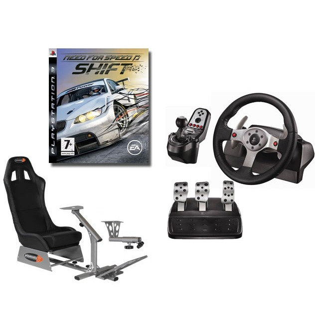 Volant PC Playseats EVO - Siège de simulation de conduite + Logitech G25 Racing Wheel  + Support de levier de vitesse + jeu PS3 Need for Speed SHIFT Playseats EVO - Siège de simulation de conduite (noir) + Logitech G25 Racing Wheel  + Support de levier de vitesse + jeu PS3 Need for Speed SHIFT