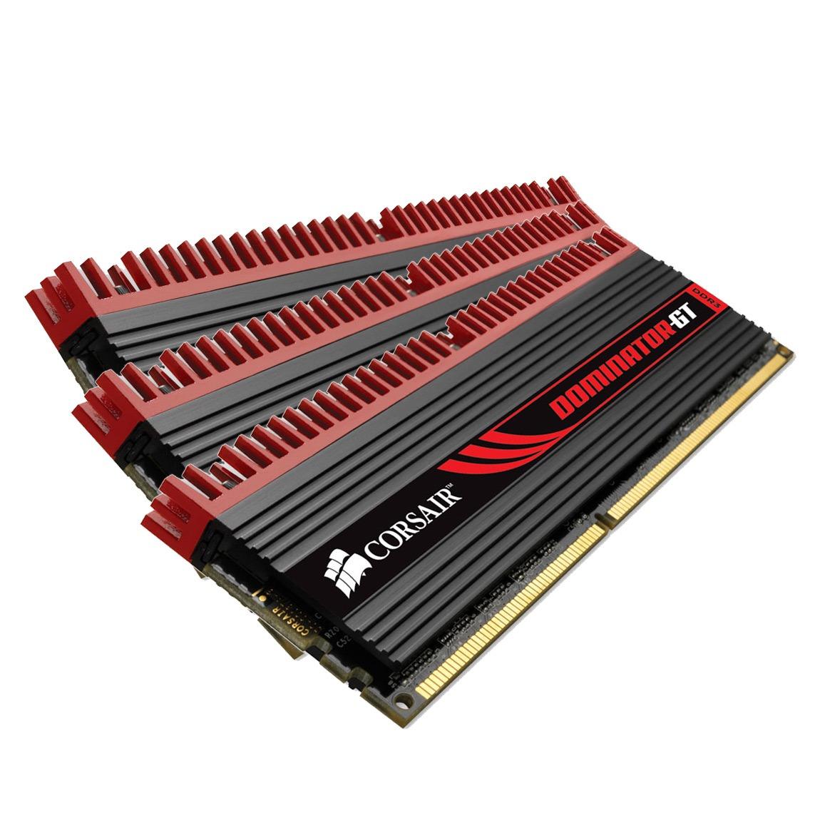 Mémoire PC Corsair Dominator-GT 6 Go (3x 2 Go) DDR3 1866 MHz CL9 Kit Triple Channel RAM DDR3 PC14900 - CMT6GX3M3A1866C9 (garantie 10 ans par Corsair)