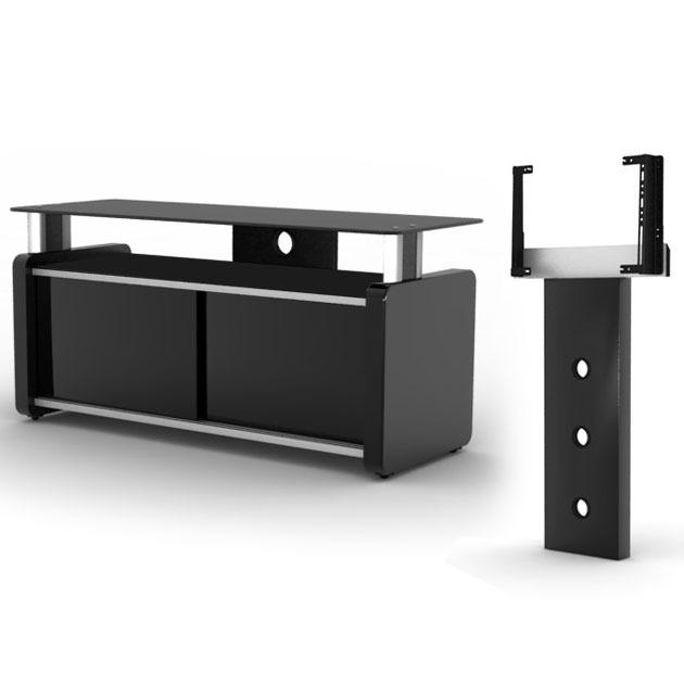 Elmob karya ka 105 02 noir elmob foot fx 30 noir achat vente meuble tv - Meuble tv pour home cinema ...