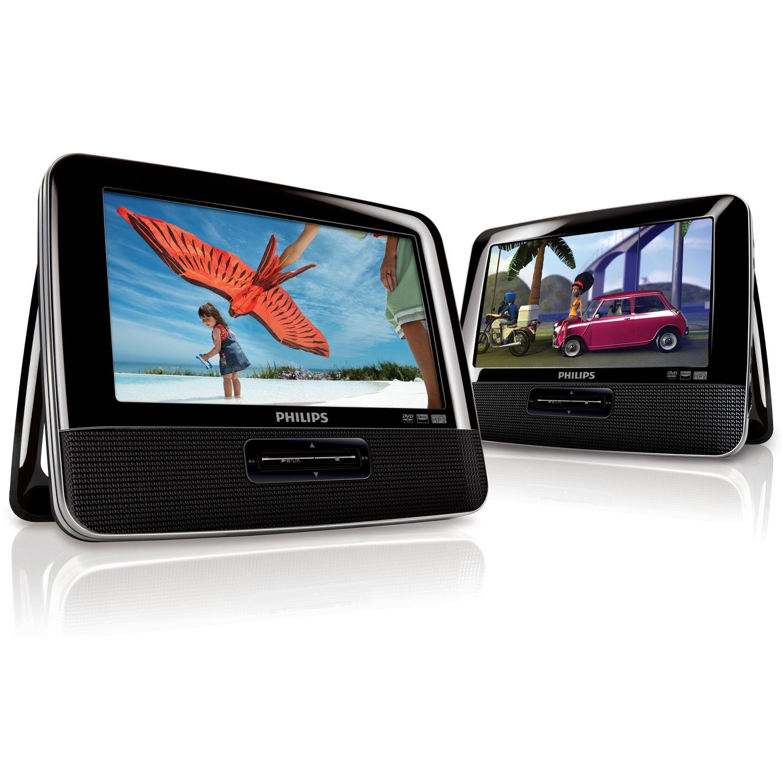 """Lecteur DVD portable Philips PD7042 Double Lecteur DVD/DivX 7"""" Portable à double écran"""