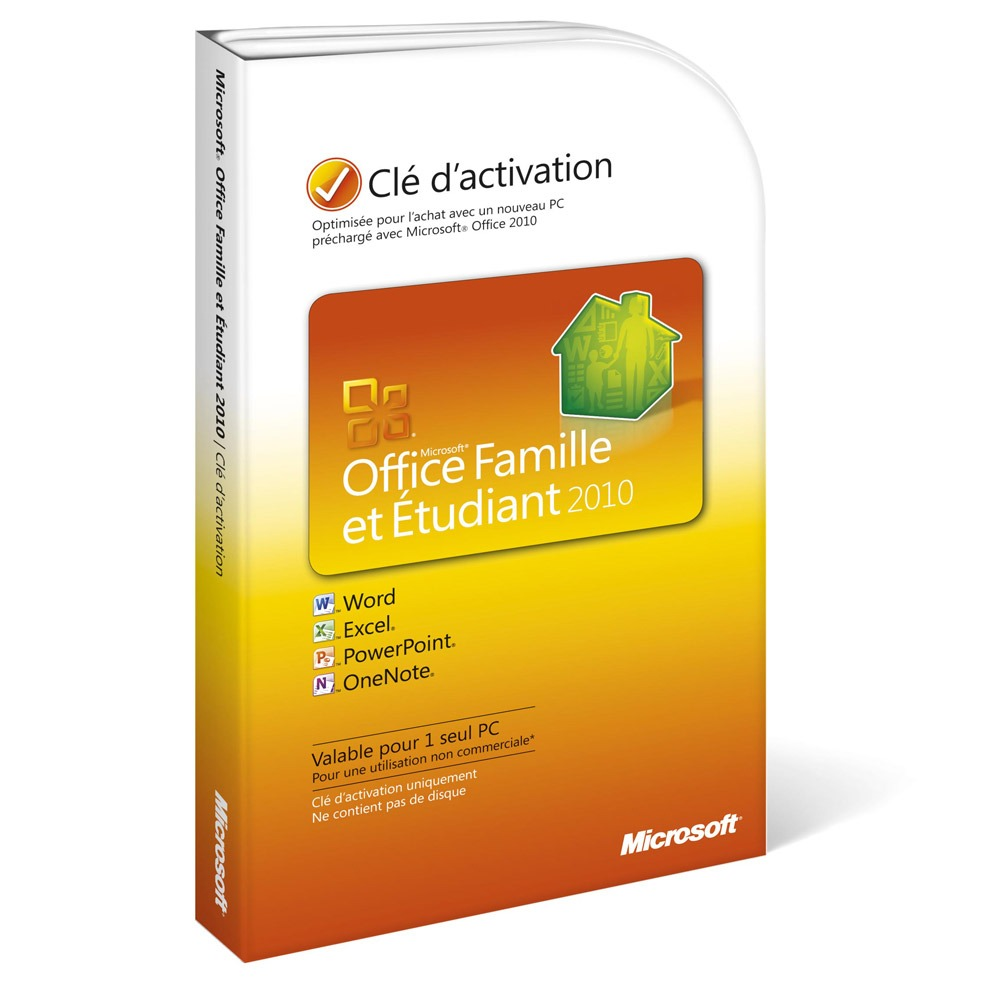 Microsoft office famille et etudiant 2010 1 pc carte d - Office famille et etudiant 2010 gratuit ...