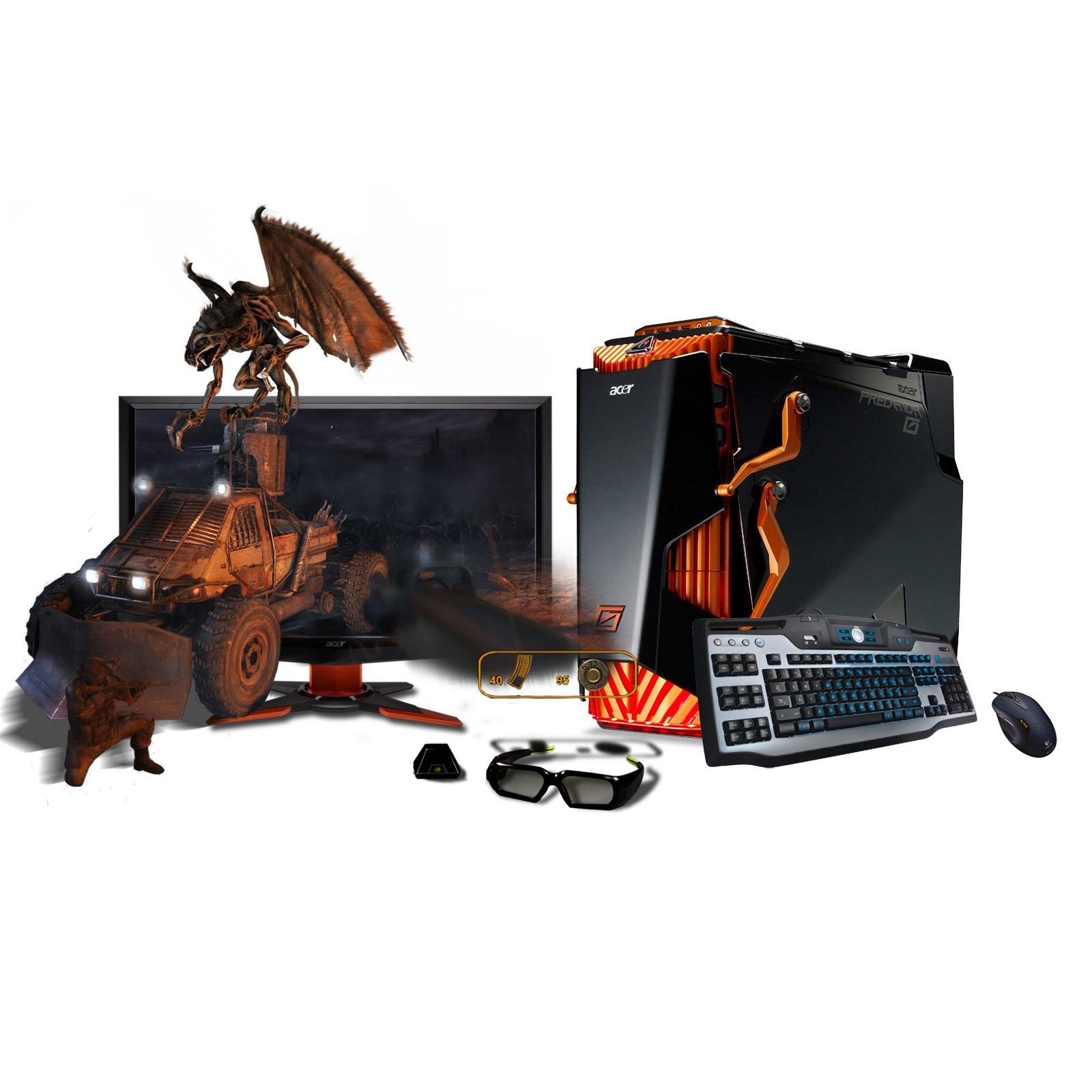 """PC de bureau Acer Aspire Predator G7750 3D Vision Acer Aspire Predator G7750 3D Vision - Intel Core i7-930 6 Go 2 To (2x 1 To) NVIDIA GeForce GTX 470 1280MB LCD 23.6"""" 3D Ready Lecteur Blu-ray Lunettes 3D Windows 7 Premium 64 bits"""