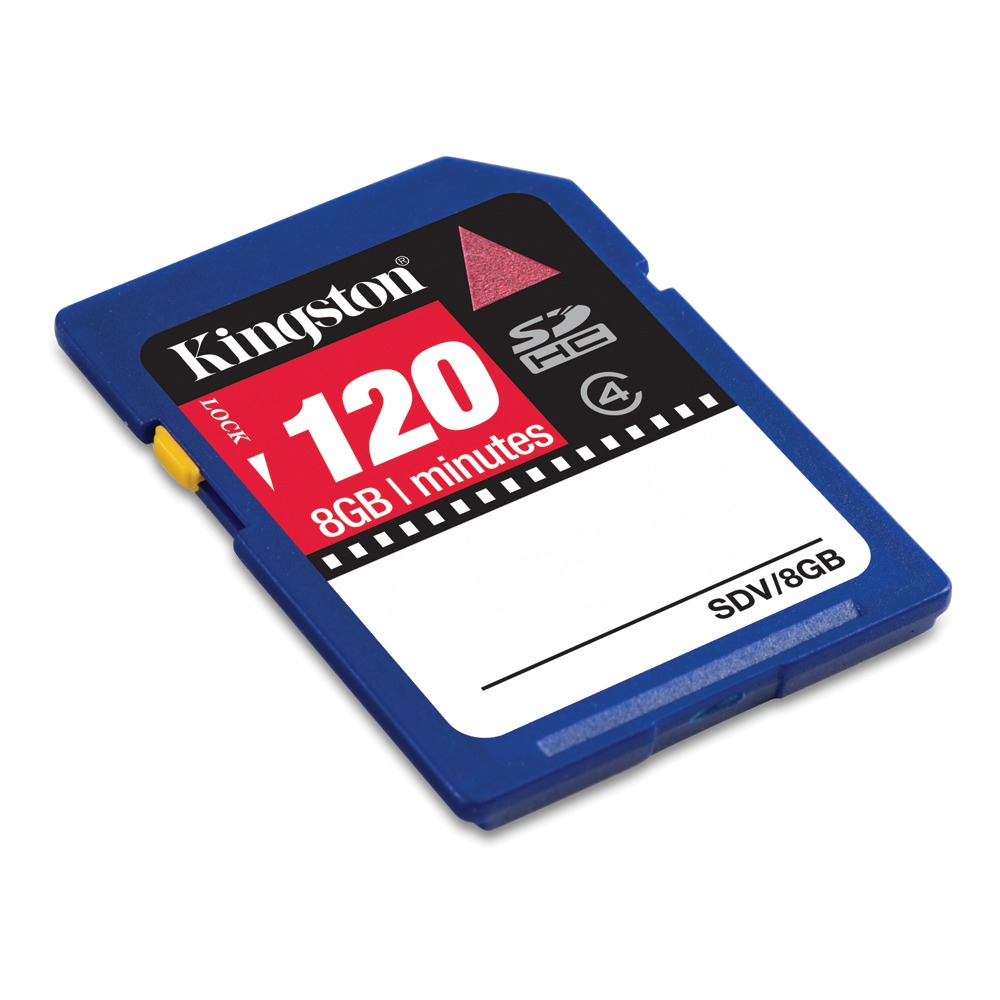 Carte mémoire Kingston Carte vidéo SDHC 8 GB 120 min Kingston Carte vidéo SDHC 8 Go (120 min) - Class 4 (garantie 10 ans par Kingston)