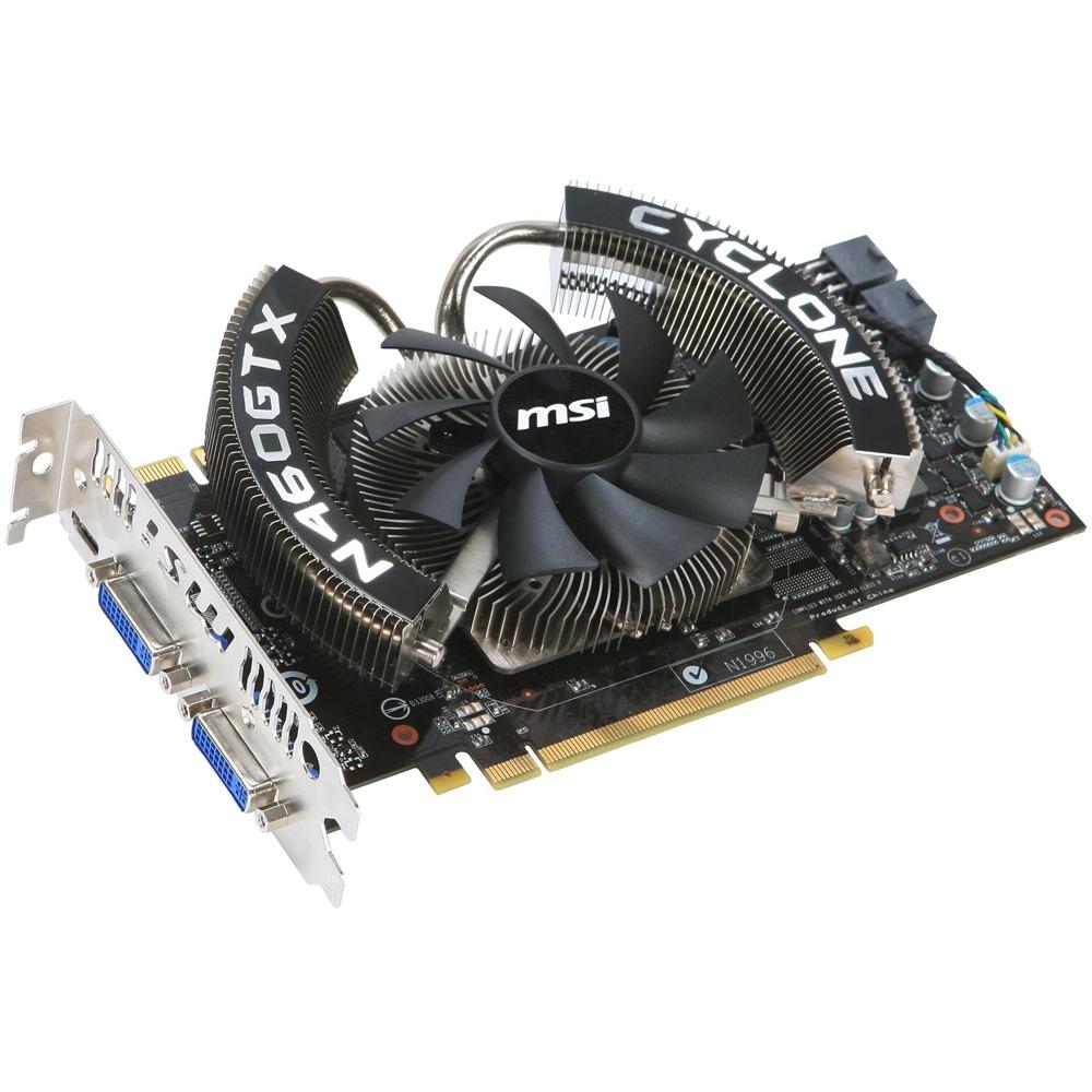 Carte graphique MSI N460GTX CYCLONE 768D5 MSI N460GTX CYCLONE 768D5 - 768 Mo Dual DVI/Mini HDMI - PCI Express (NVIDIA GeForce avec CUDA GTX 460)