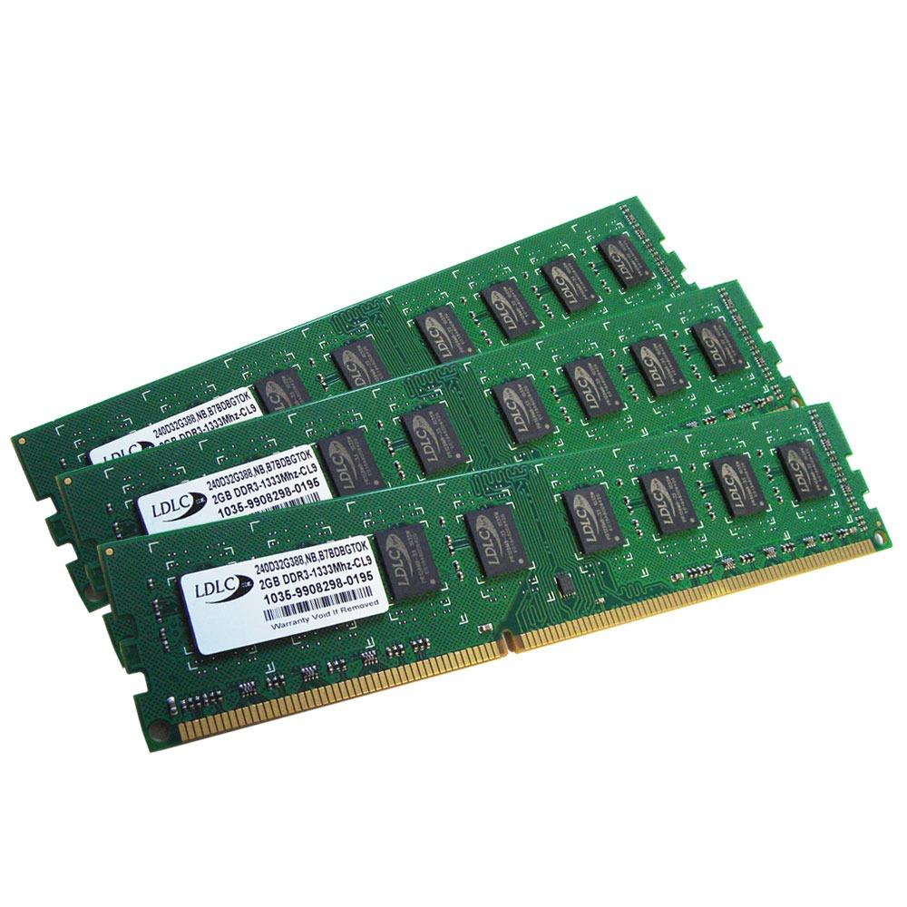 Mémoire PC LDLC 6 Go (3x 2 Go) DDR3 1333 MHz CL9 Kit Triple Channel RAM DDR3 PC10600 (garantie 10 ans)
