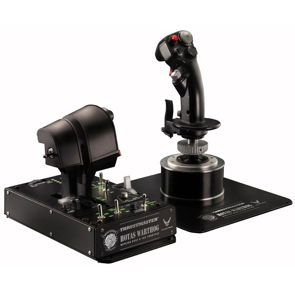 Joystick Thrustmaster HOTAS WARTHOG Système de pilotage avancé pour simulateur de vol avec joystick, panneau de contrôle rétro-éclairé et double manette des gaz (compatible DCS, Flight Simulator, Star Citizen, Elite: Dangerous...)