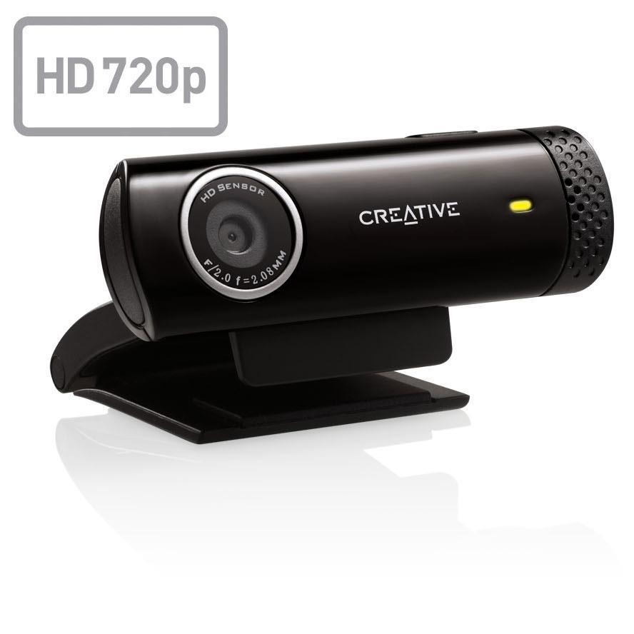 Webcam Creative Live! Cam Chat HD Webcam HD 720p (capteur vidéo 1 MP / capteur photo 5.7 MP) avec microphone anti bruit de fond intégré, compatible Facebook, YouTube, Twitch...