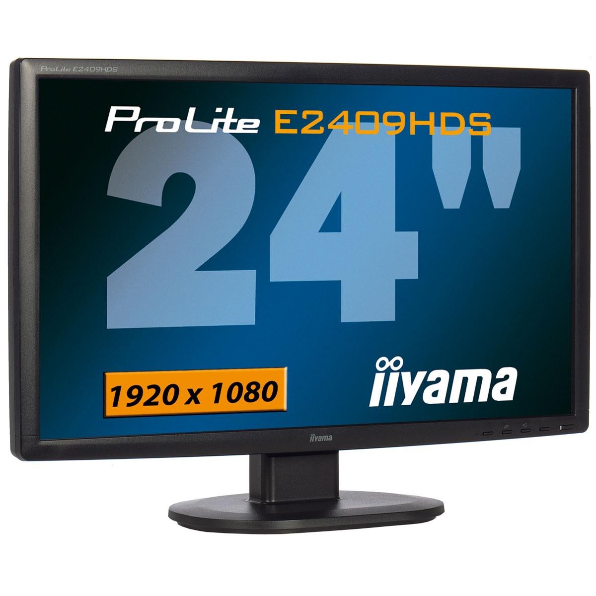 "Ecran PC iiyama 24"" LCD - ProLite E2409HDS-B1 1920 x 1080 pixels - 2 ms - Format large 16/9 - port HDMI - Noir"