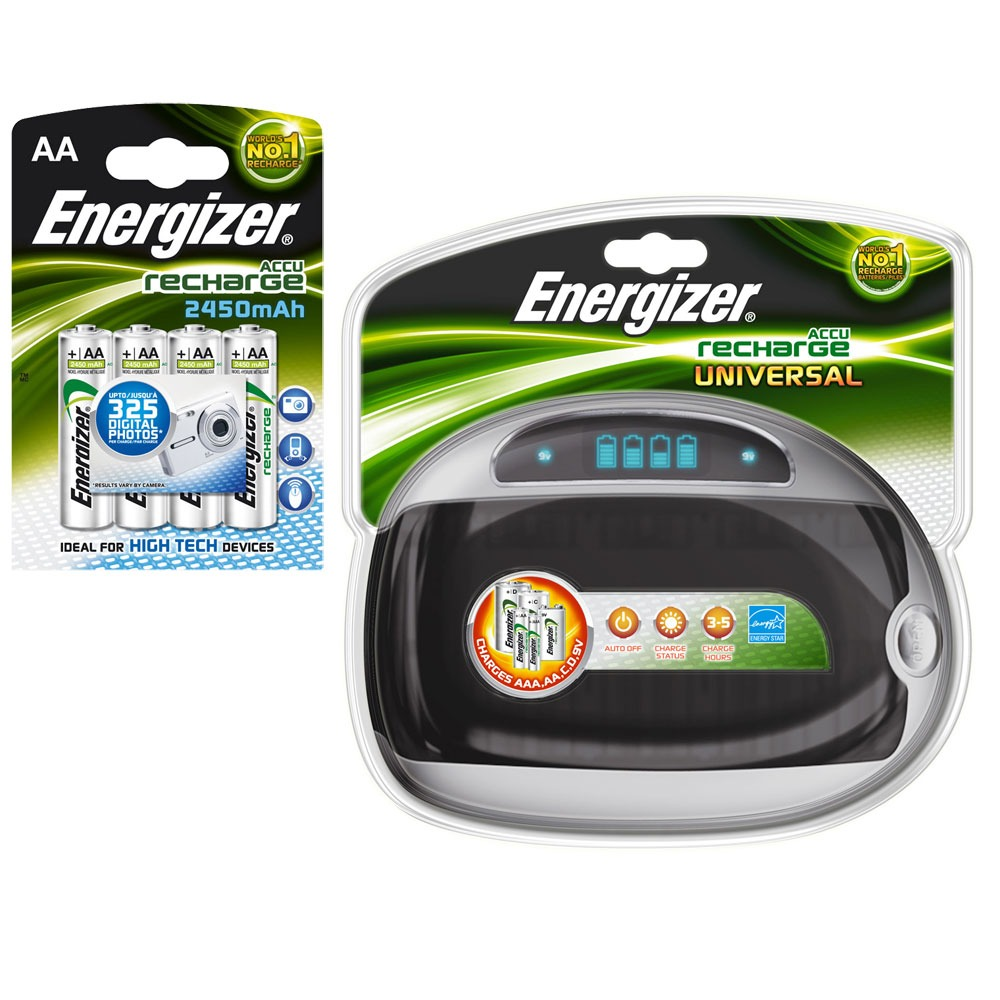 energizer chargeur de piles universel 4x aa 2450 mah offertes charg univ 4hr06 achat. Black Bedroom Furniture Sets. Home Design Ideas