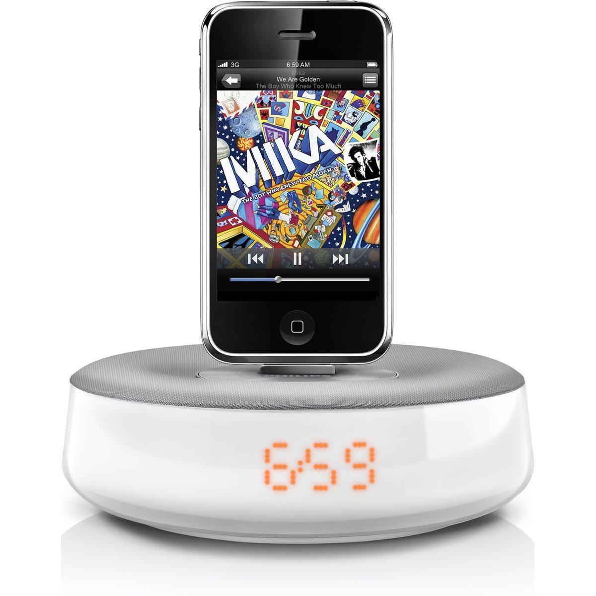 Radio & radio réveil Philips DS1100 Philips DS1100 - Radio réveil pour iPod/iPhone avec Port USB