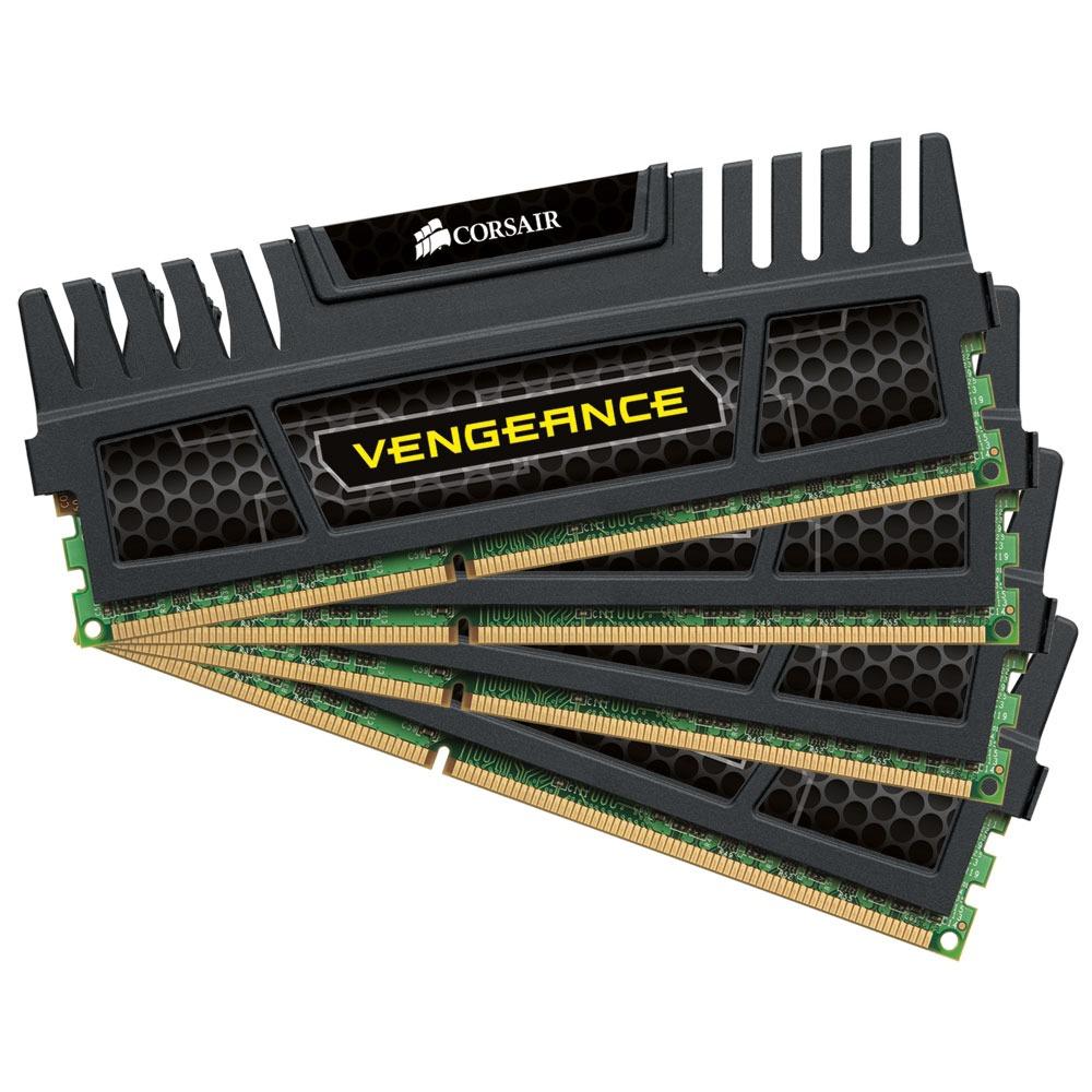 Mémoire PC Corsair Vengeance Series 8 Go (4x 2 Go) DDR3 1600 MHz CL9 Kit Quad Channel DDR3 PC3-12800 - CMZ8GX3M4X1600C9 (garantie à vie par Corsair)