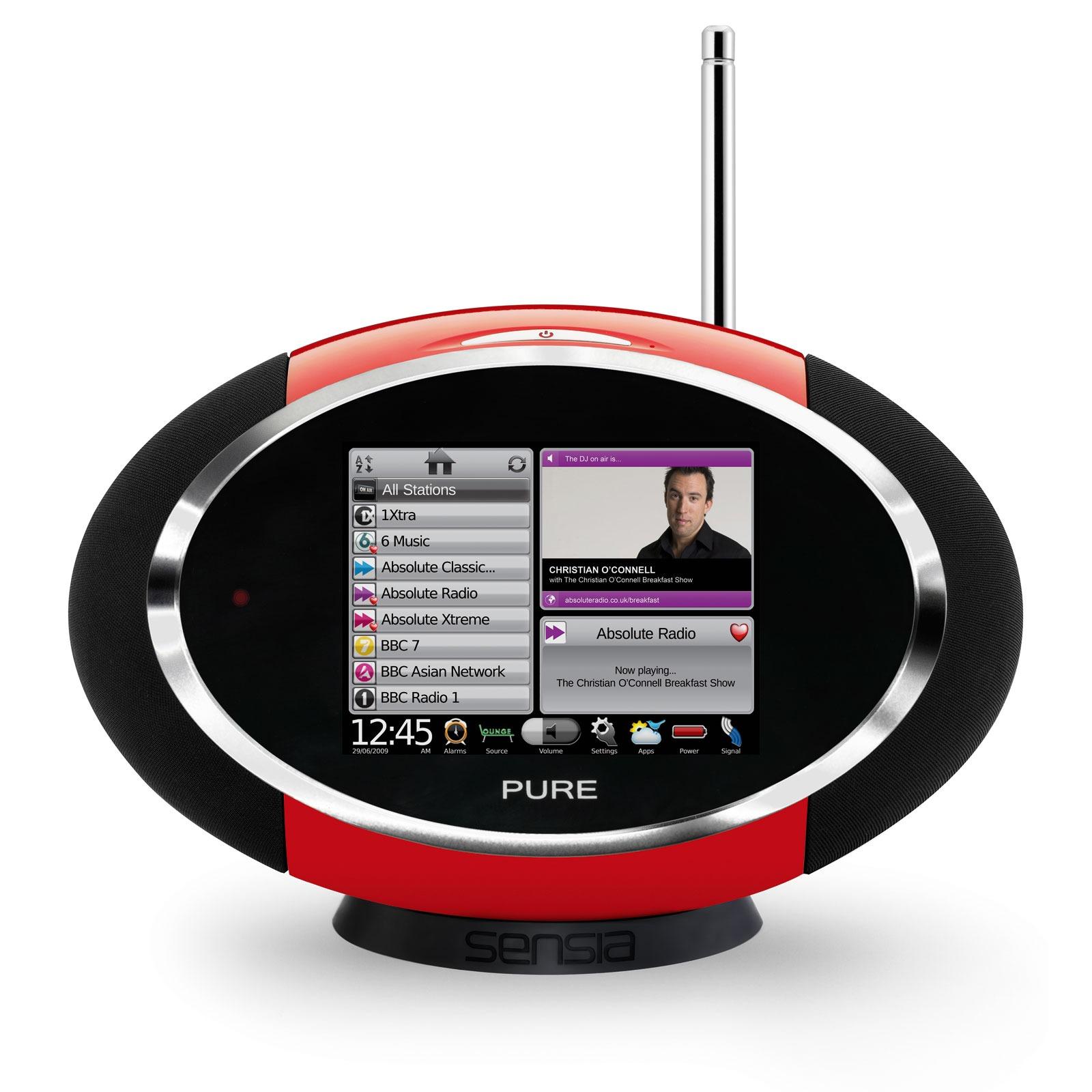 Radio & radio réveil Pure Sensia Red Radio FM compatible RNT et Webradio avec écran tactile
