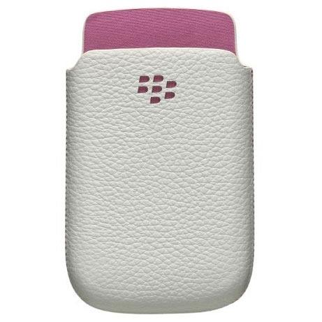 Etui téléphone BlackBerry Leather Pocket Blanc / Rose BlackBerry Leather Pocket Blanc / Rose - Etui en cuir pour BlackBerry 9800/9810