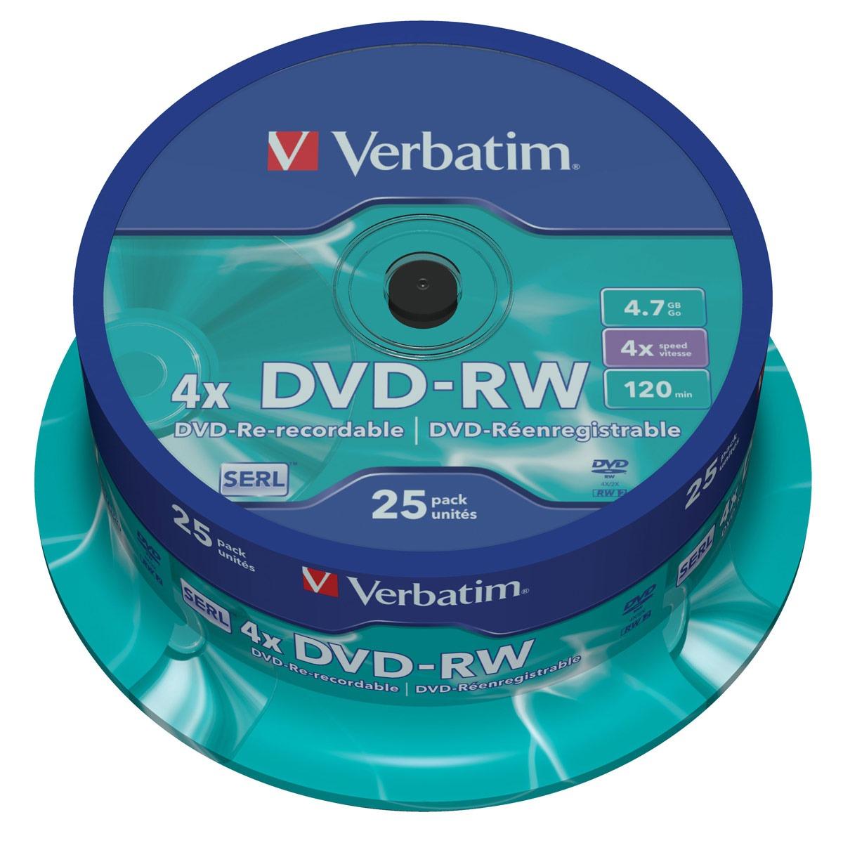 DVD Verbatim DVD-RW 4.7 Go certifié 4x (pack de 25, spindle) Verbatim DVD-RW 4.7 Go certifié 4x (pack de 25, spindle)