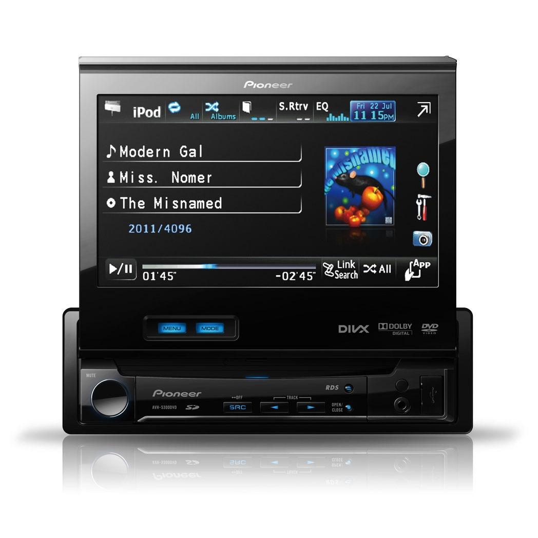 Autoradio Pioneer AVH-5300DVD Pioneer AVH-5300DVD - Autoradio DVD / DivX MP3 avec écran panoramique, contrôle iPod/iPhone, USB et entrée auxiliaire