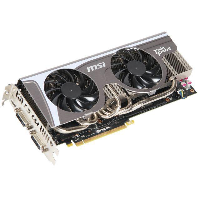 Carte graphique MSI N570GTX Twin Frozr II/OC 1280 MB 1280 Mo Dual DVI/Mini HDMI - PCI Express (NVIDIA GeForce avec CUDA GTX 570)