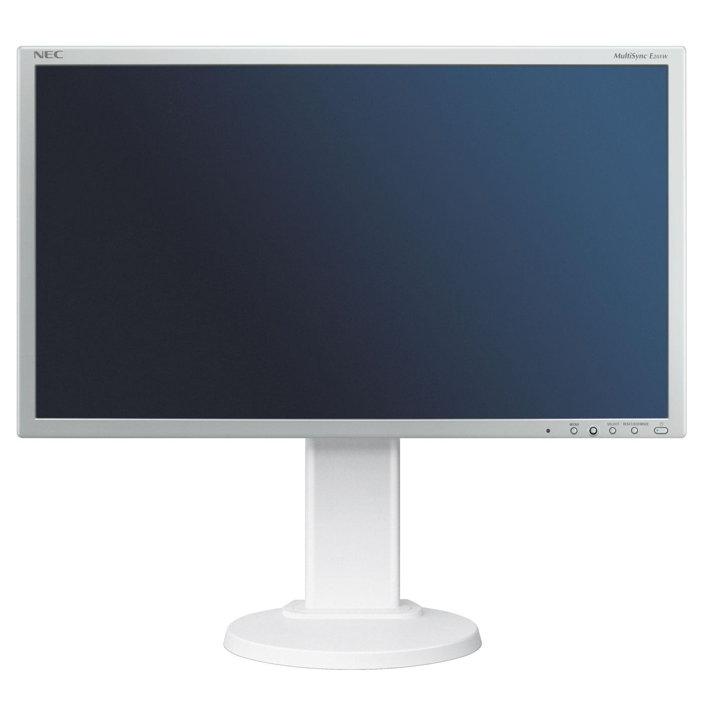 """Ecran PC NEC 20"""" LED - MultiSync E201W 1600 x 900 pixels - 5 ms (gris à gris) - Format large 16/9 - Pivot - Blanc (garantie constructeur 3 ans)"""